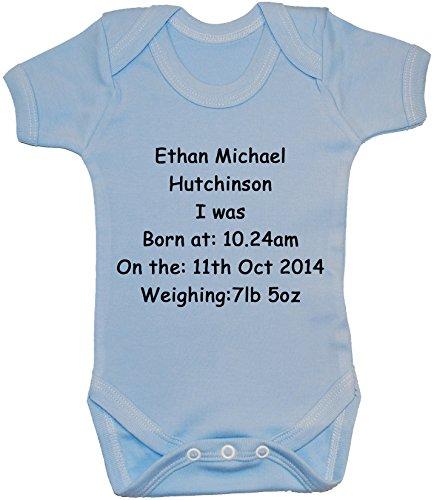 Bébé Heure 24 Naissance shirt De Bleu Nom Personnalisable nbsp;mois gilet body Poids Et Body Date Pour Avec 0 t nbsp;à q1B46