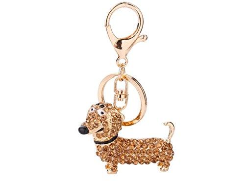 Home Gadget Cute Shiny Rhinestone Puppy Dog Pendant Dachshund Keyring Keychain (Golden) Household Goods