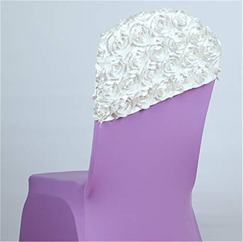 (YFT6FG Rose Chair Streamer Wedding Decoration Chair Sashes Party Banquet Generous House Decor Chairs Sash 10 Pcs/Lot White )