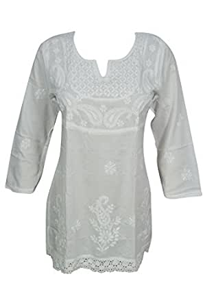 Bohemian Chic Designs Ladies White Tunic Embroidered Chikankari Blouse Top Casual Small