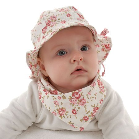 Toddler Sun Hat with Chin Strap, Drawstring Adjust Head Size, Breathable 50+ UPF (Discontinued by Manufacturer) (M: 9m - 3Y, Tiny Rose) - Discontinued Rose