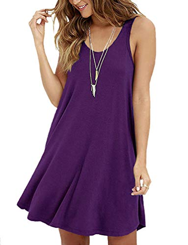 VIISHOW Women Sleeveless Casual Swing T-shirt Dresses,Purple,Medium