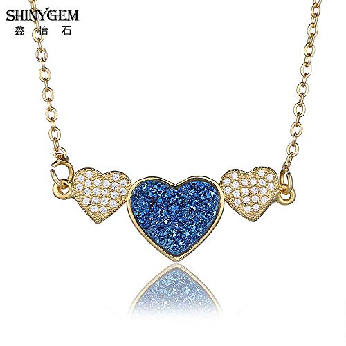 (Crystal Heart Pendant Necklaces | Natural Gem Stone Necklaces | Link Chain | Gold Necklace for Women)
