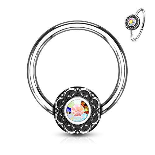 Amelia Fashion 16 Gauge Crystal Centered Filigree Captive Bead Ring 316L Surgical Steel (Choose Color) (Aurora Borealis 16GA(1.2mm) L.3/8