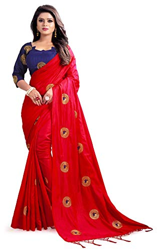 Hiral Designer Indian Women Red Color Cotton Paper Silk & Heavy embroidery Work Party Wear Saree With Blouse piece Indian. (Red)