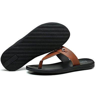 Sandalias de verano zapatos de hombre exterior / oficina / Carrera / Athletic / / vestimenta casual zapatillas cuero Nappa Negro/Blanco/Marrón Negro