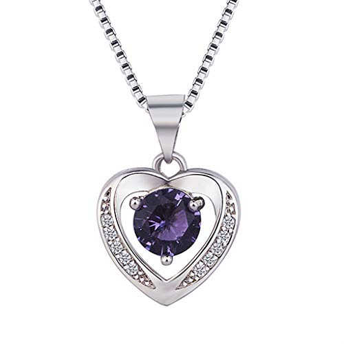 Amethyst Heart Necklace,Haluoo Women Fashion Dainty Topaz Pendant Necklace Feminine Angel Crystal Necklace 925 Sterling Silver Pendant Clavicular Necklace Delicate Women Jewelry (Purple)