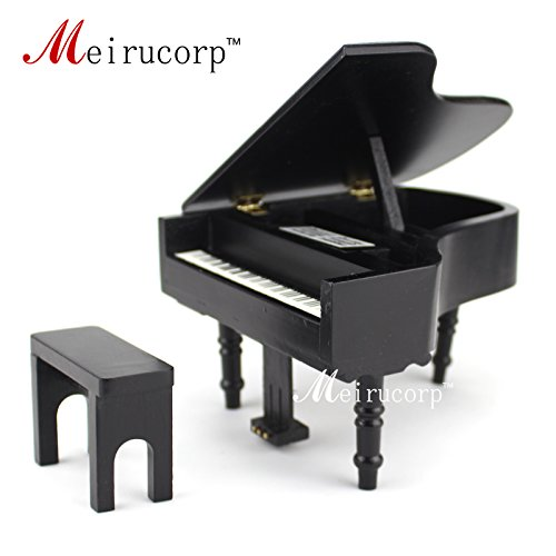 dollhouse 1/12 Scale Miniatures Musical Instrument Wooden black piano and stool