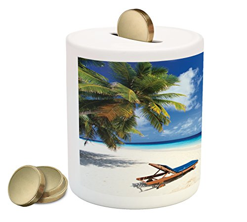 (Lunarable Seaside Piggy Bank, Tropical Beach Chair Sand Palm Trees Sunny Summer Exotic Travel Theme, Printed Ceramic Coin Bank Money Box for Cash Saving, Blue Green and Ivory)