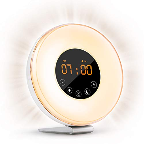 Sunrise Alarm Clock Wake Up Light FM Radio Clock Night Light for Heavy Sleepers & Kids - 7 Adjustable Colors - Sunrise and Sunset Simulation with Touch - Easy Alarm Clock Wake