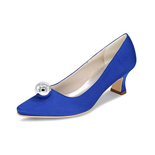 bleu talons Rhinestone quotidien Travail chaussures de Mme soie Heeled souligné Chaussures parti à Pompes de Le Rough chaussures a Qingchunhuangtang hauts Satin mariage SBERqwOxW