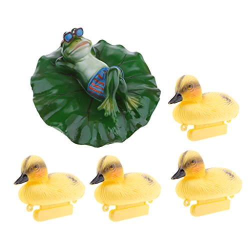 - Flameer 5X Swimming Pool Floating Ducks Duckling Pond Lily Lotus Leaf Frog Lying Style Green Plant Bathtub Toys Summer Decor Outdoor Patio Pond Decorations