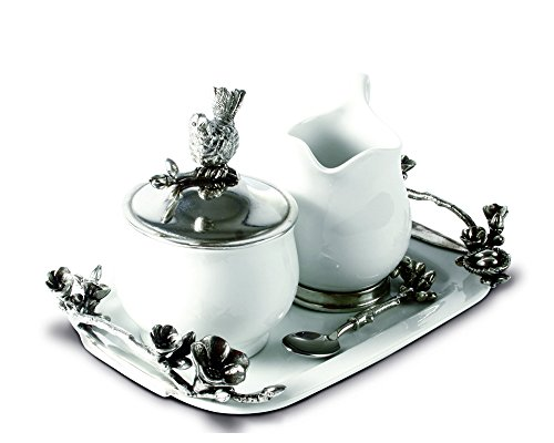 Vagabond House Stoneware Creamer Set - Pewter Song Bird 12.25'' Long Tray with Creamer, Sugar Bowl and Spoon by Vagabond House (Image #1)