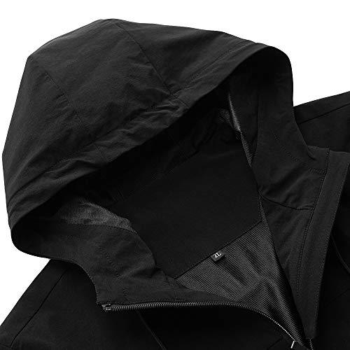 Giacca Antivento Jerfer Casual Esterno Colore Uomini Inverno Con Cappuccio Solido Autunno Sportiva Felpa Nero E qpUVMzGS
