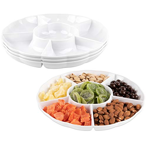 Impressive Creations White Round Plastic Serving Tray - (Pack of 3) - Heavyweight Disposable 6 Compartment Reusable Party Supply Tray- Durable and Reusable Party Supply Tray - Perfect Dinnerware -