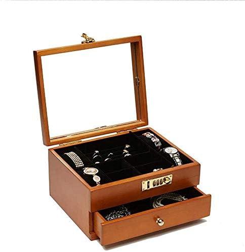 Cajas de joyería DJSSH Caja de reloj de 2 capas de madera maciza ...