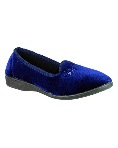 Mirak Mirak Ladies Simone Slip On Rosa Ricamo Pantofola Tessile Blu Navy