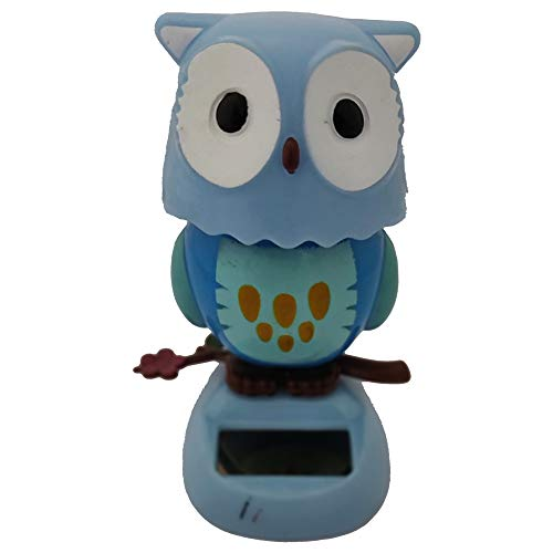- Divya Mantra Solar Power Dashboard Bobble Head Dancing Shaking Owl Toy Doll Showpiece, Collection Figurines, Gifts for Kids, Car Decoration - Blue