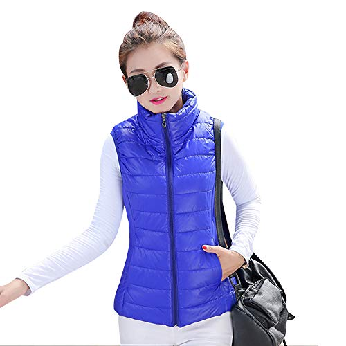 YIHIGH Womens Down Gilet Jacket Coat - Stand Collar Sleeveless Body Warmers Vest Jacket Zip Up Vest Blue