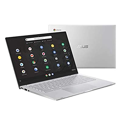 "Asus Chromebook C425 Clamshell Laptop, 14"" FHD 4-Way NanoEdge, Intel Core M3-8100Y Processor, 8GB RAM, 64GB eMMC Storage, Backlit KB, Silver, Chrome OS, C425TA-DH384"