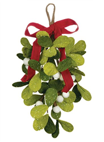Mistletoe Ornament (Sullivans 12-inch Felt Mistletoe Drop Hanging Decorative Ornament)