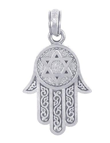 Hamsa Charm Pendant - Jewish Jewelry by FDJ Star of David Charm Hamesh Hand Hamsa Pendant 925 Sterling Silver