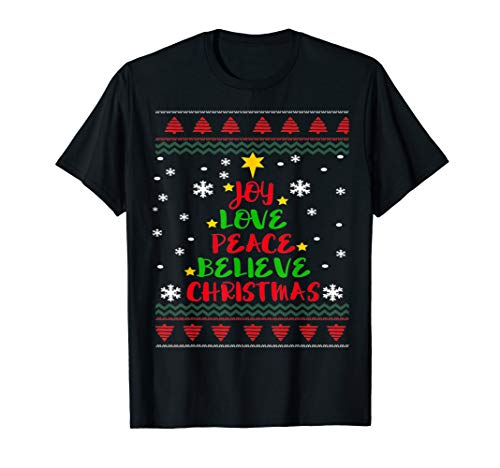 Joy Love Peace Believe Cool Christmas Tree Sweater Jumper  -