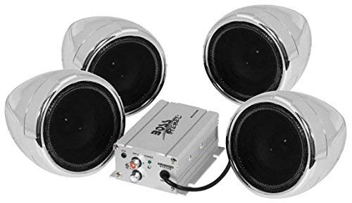 eaker / Amplifier Sound System, Weatherproof Speakers, Bluetooth Amplifier, Inline Volume Control, Ideal For Motorcycles/ATV and 12 Volt Applications ()