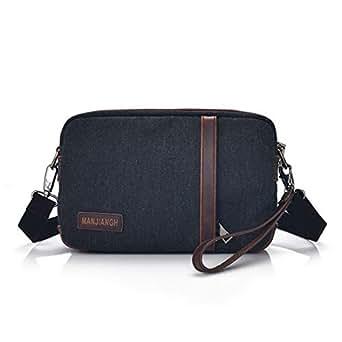 Mens Bag Simple Retro Zipper Waterproof Bag Canvas Messenger Shoulder Bag Color: Khaki High capacity (Color : Black)