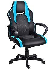 Euco Spelstol, svängbar datorskrivbordsstol med vadderade armstöd, ergonomisk kontorsstol i PU-läder, PC-tävlingsstol, röd/blå/vit/svart