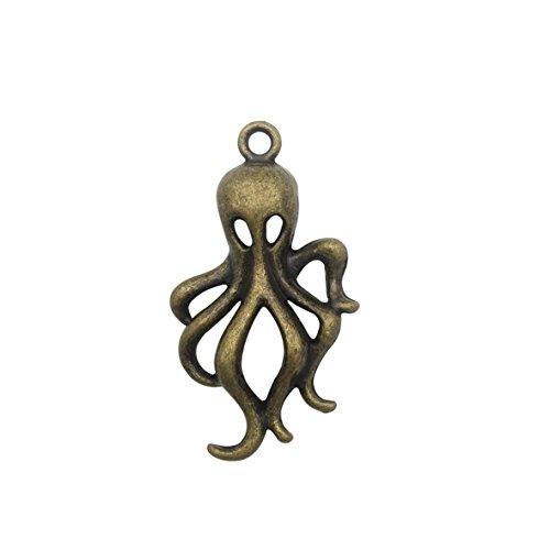(Antique Brass Alloy Pendants - Octopus - 18mmx33mm - 60 PCS (JP329) )