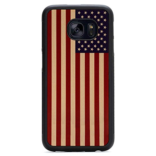 Galaxy S7 edge USA Flag Print Maple Wood Traveler Case by Carved, Unique Real Wooden Phone Cover (Rubber Bumper, Fits Samsung Galaxy S7 edge) (Carved Maple Top)