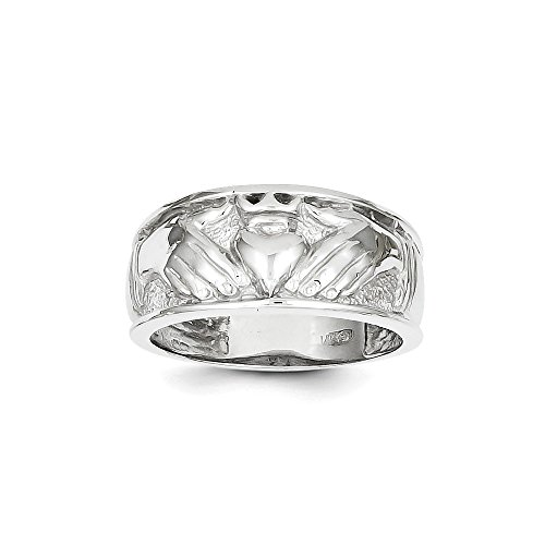 14k White Gold Men's Claddagh Ring