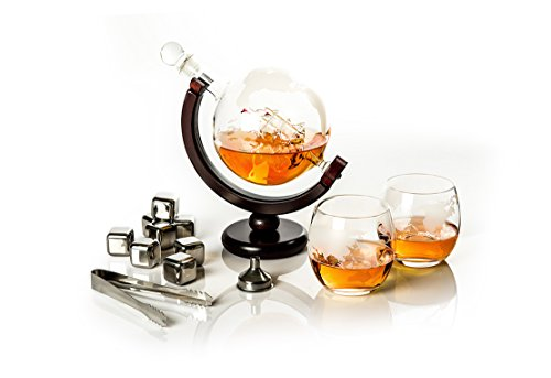 - Whiskey Decanter Globe set with 2 etched Globe Whiskey Glasses & 8 stainless steel Whiskey Stones - for Vodka, Scotch, Liquor, Bourbon, Whiskey and Wine - 850ml Gift Set - Golden Moose