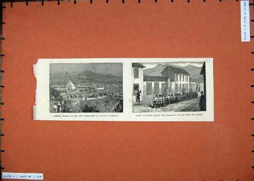 old-original-antique-victorian-print-1874-festival-waterworks-caracus-venezuela-president-602n136