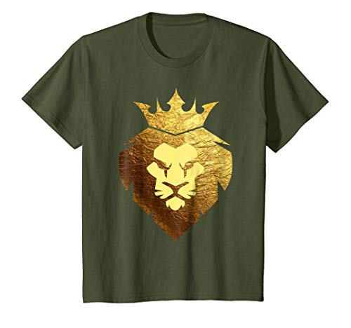 Kids King Lion Crown T-Shirt With Lion Face-King of the Jungle 10 Olive by Retro Lion Shirts 365