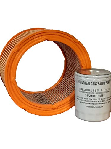 Generac Air Filter 0G5894 and Uninversal Generator Parts Replacement Oil Filter Sets for Generac 070185E and 070185ES (Air and Oil)