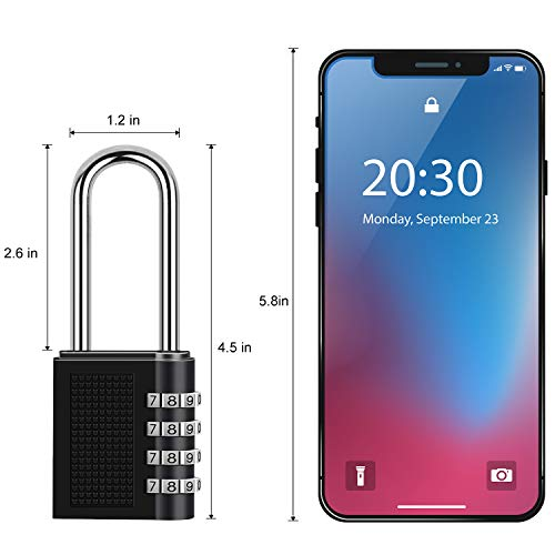 Cabinets Toolbox 2-Pack Case Weather Proof Heavy Duty Lock with 4-Digit Smooth Dial for School Gym Outdoor Long Padlock Locker Locks Combination Padlock Black Garden Gate