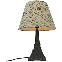 Simple Designs LT3010-BSL Eiffel Tower Lamp with Printed Fabric Shade, French Script/Blue Slate