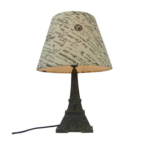 Eiffel Tower Lamps - Simple Designs LT3010-BSL Eiffel Tower French Script Printed Fabric Shade Table Lamp, Blue Slate