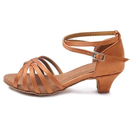 YFF Señoras bajo el talón de América/Salón de baile Zapatos de Baile de Tango Brown