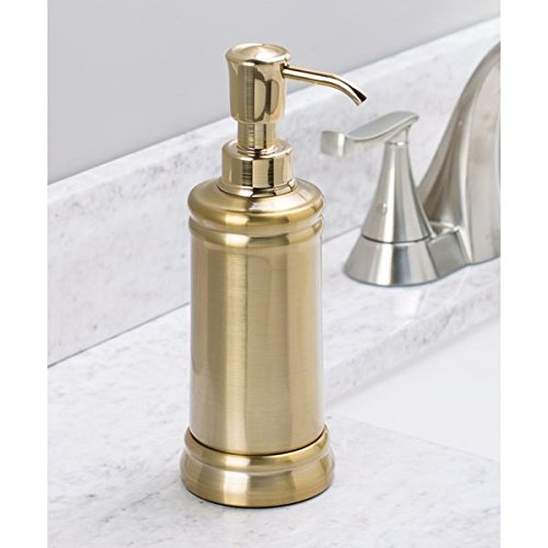 mDesign Liquid Hand Soap Dispenser Pump Bottle for Kitchen, Bathroom | Also Can be Used for Hand Lotion & Essential Oils - Pack of 2, Soft Brass by mDesign