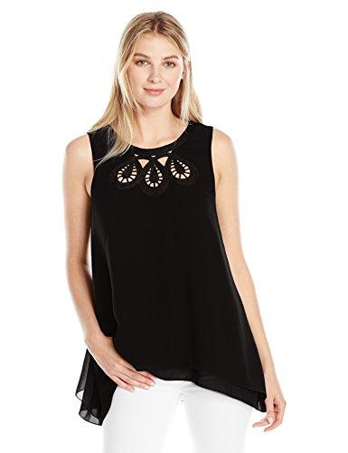 Lark & Ro Women's Standard Sleeveless Yoke Blouse, Black/Black, XL by Lark & Ro