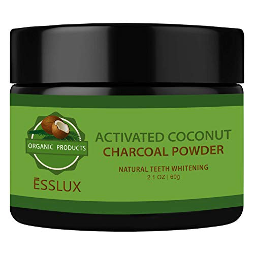 ESSLUX Activated Charcoal Powder, Natural Coconut Charcoal Teeth Whitening Powder, Organic Teeth Whitener, for Teeth Stain Removal, FDA Approved - Mint Flavor