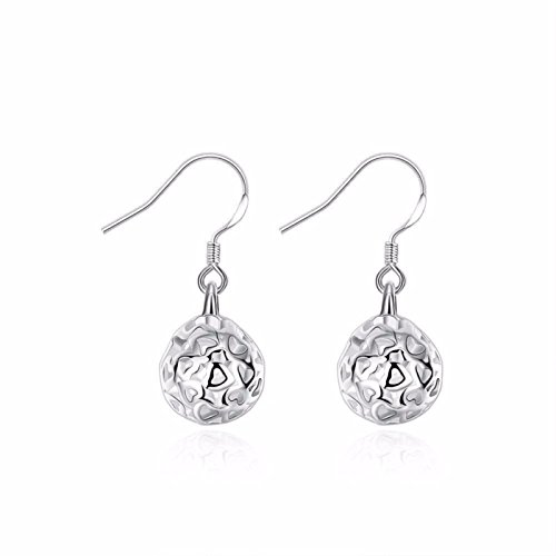 Dangle Engagement Bead Ring (ptk12 Shine Silver Colour Hollow Ball Beads Nickel Free Drop Dangle Earrings For Women)