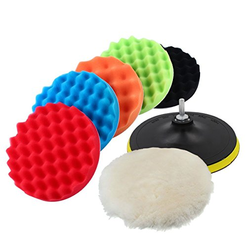 Buffing Mini Pad Kit - Yosoo Buffing Pads Polishing Pads, 7 Pcs Waxing Sponge Pads Kit Car Polisher with M14 Drill Adapter (7 Inch)
