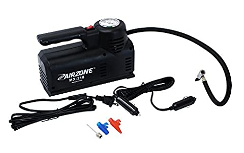 Airzone MX-218 110V AC/12V DC Portable Air Compressor, Tire Inflator, Beach Ball Inflator, Sports Ball Inflator, Air Mattress - Electric Ball Inflator