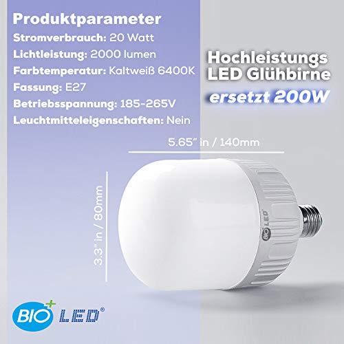 Bioled 20W,Pacco da 3, Bianca Fredda 6400K, 20 Watt Lampadina LED Equivalenti a 200W, Attacco E27, 2000lm Alta luminosità e Risparmio Energetico Non Dimmerabile, A Prova di Umidità e Polvere