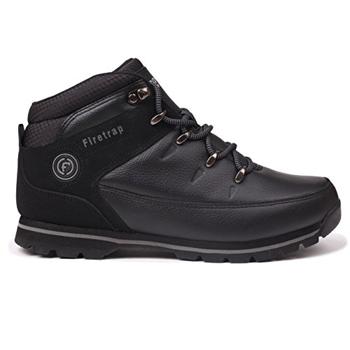 Firetrap Rhino Mens Boots Ankle height Stripy Laces Casual Shoes Black/Black Boqw1a