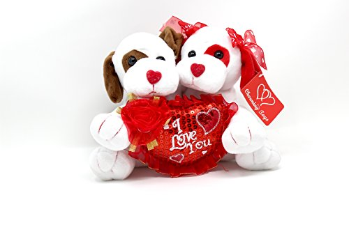 Valentine's Day Stuffed Animal | Perfect Gift Idea for Him or Her | Two Dogs Holding a Heart That Says I Love You